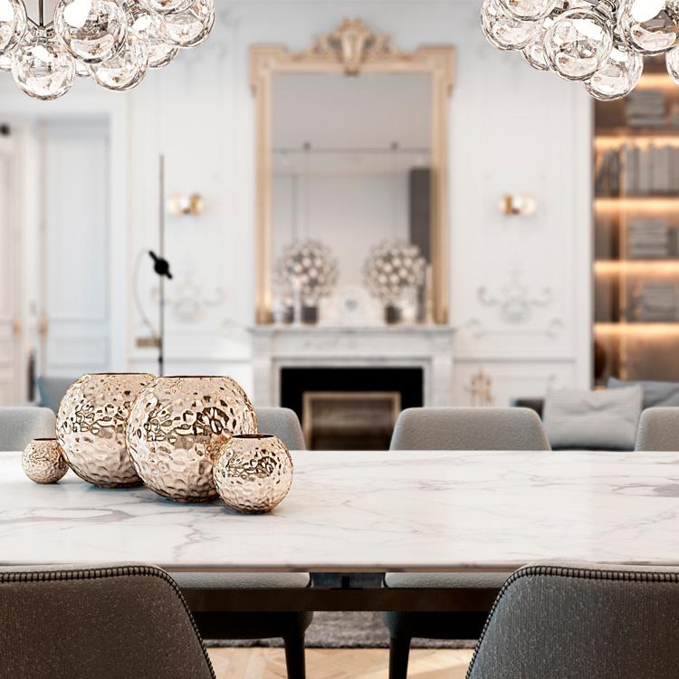 Tapas de mesa de mármol